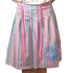 Old Navy Pleated pink/blue striped full skirt (C3)